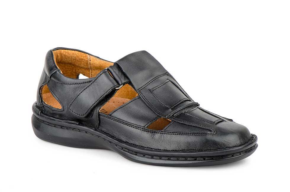 Sandalias para Negro Mujer de de Hombre VelcroCarlo Piel GarelliZapatos Piel Hombreamp; con clJFKT13