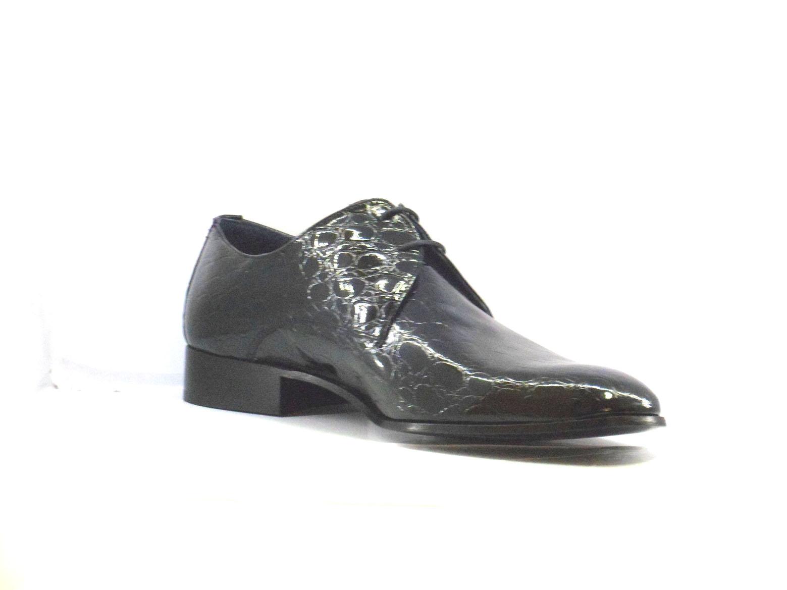51b8217ad Zapatos Fiesta de Hombre Charol Negro, Piso Suela Cuero con Cordones