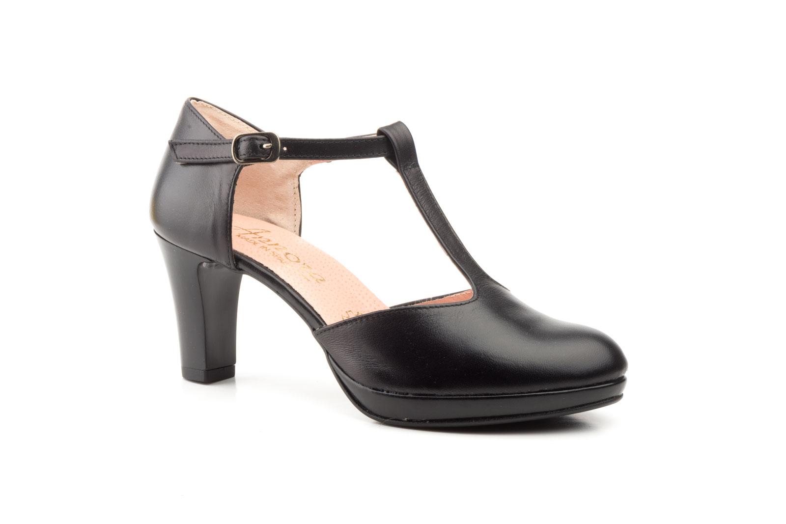 Zapatos Vestir De Mujer Piel Negro Con Correa Y Hebilla Plataforma